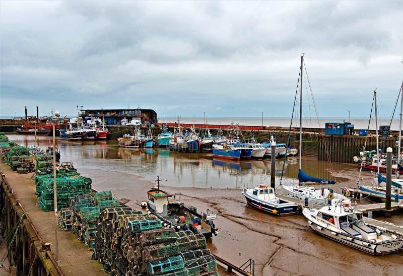 Ruelle de pots de homard, dans le port de Bridlington, Yorkshire est, avril 2019 images libres de droits