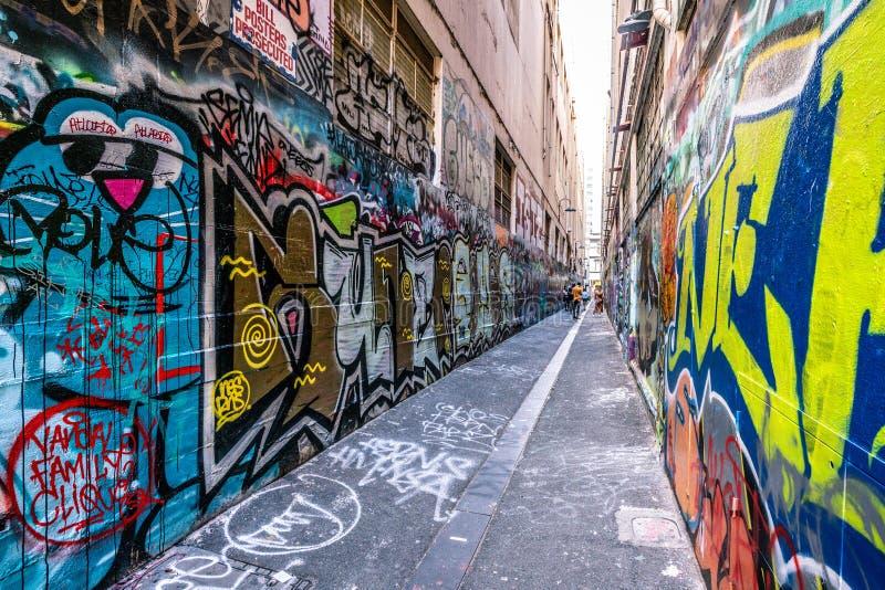 Ruelle des syndicats une vue laneway célèbre à Melbourne Australie photographie stock