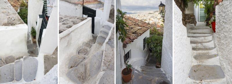 Rues étroites du secteur d'Anafiotika près de l'Acropole dans la ville d'Athènes, Grèce photo stock