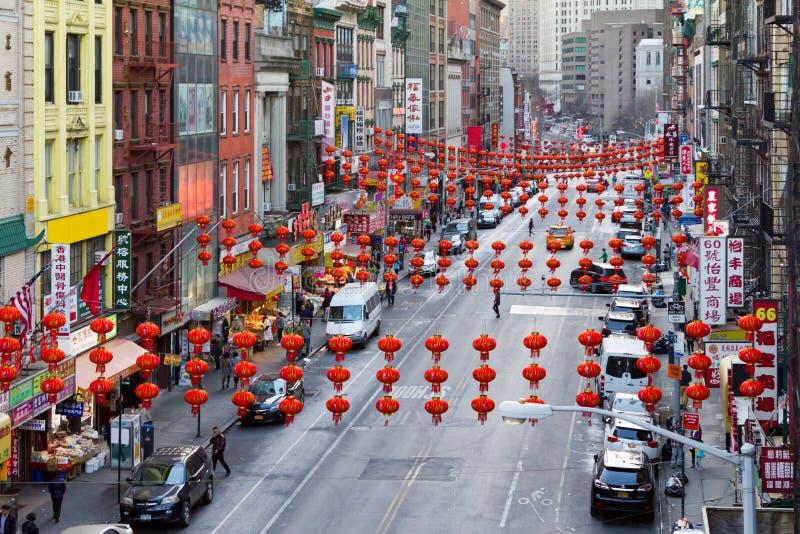 Rues colorées de Chinatown à New York City images stock