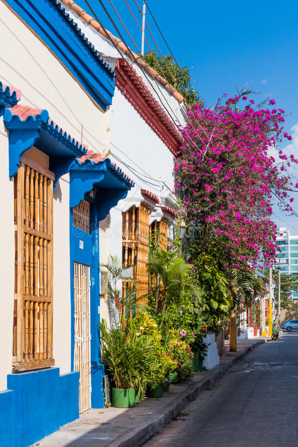 Rues colorées Getsemanir Carthagène de los indias Bolivar Colo photographie stock