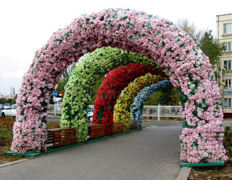 Rues décorées à Astana, Kazakhstan photo stock