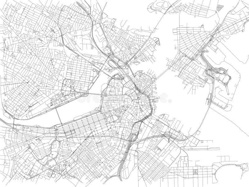 Rues de Boston, carte de ville, le Massachusetts, Etats-Unis illustration de vecteur
