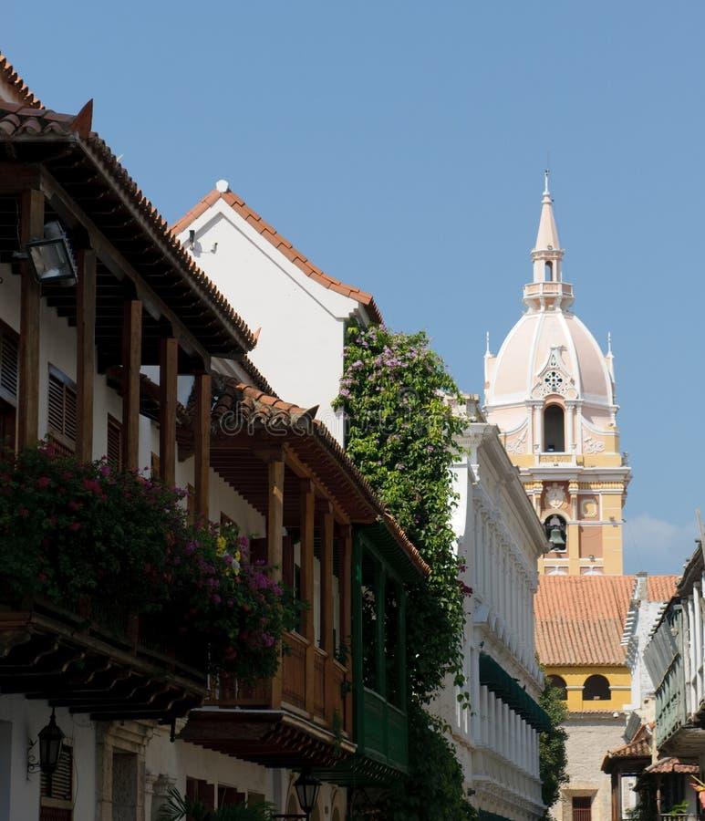 Rues de Carthagène, Colombie images libres de droits