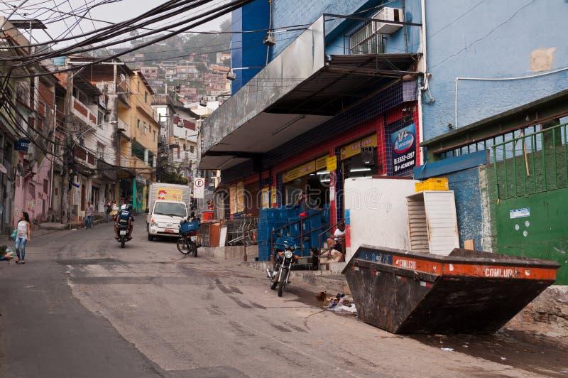 Rues de Favela Vidigal en Rio de Janeiro photographie stock libre de droits