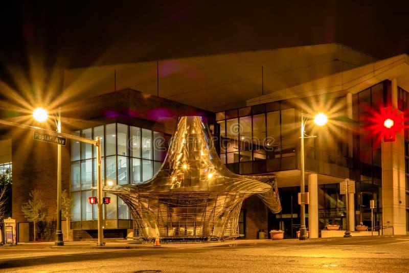 Rues de ville de Memphis Tennessee la nuit photographie stock libre de droits