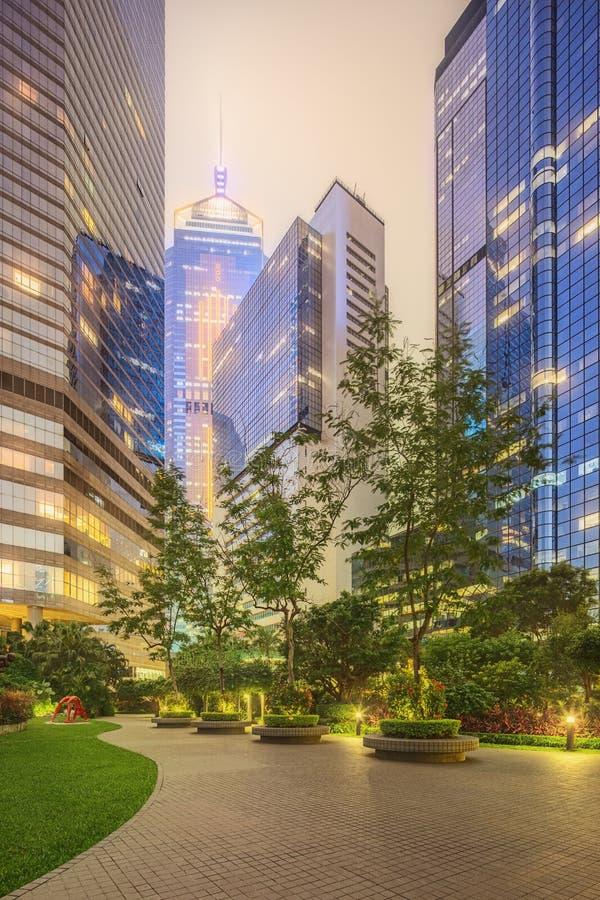 Rues de ville et immeubles de bureaux modernes Hong Kong, Chine images stock
