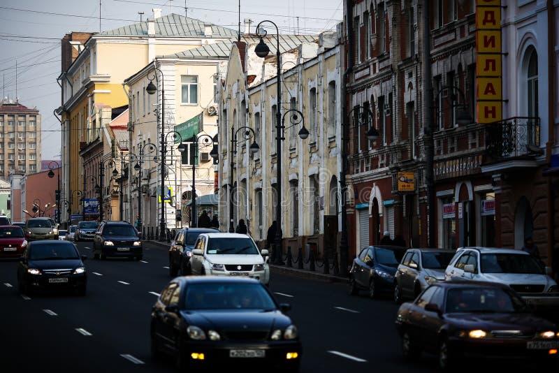 Rues de Vladivostok - la capitale de l'Extrême Orient image libre de droits