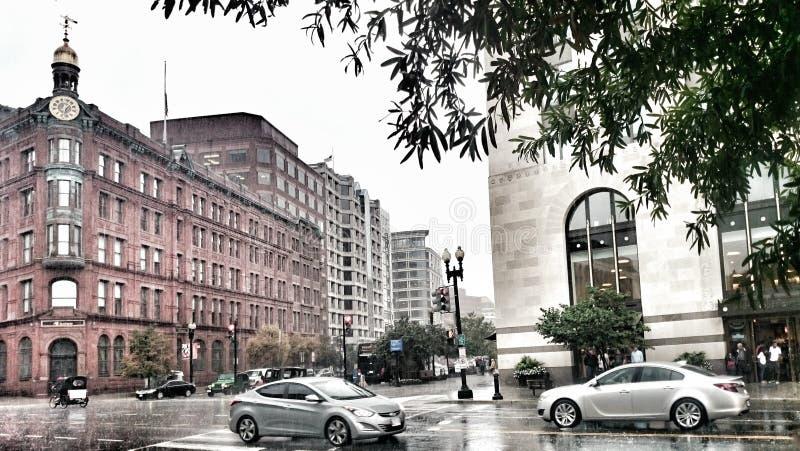 Rues de Washington DC un jour pluvieux photo stock