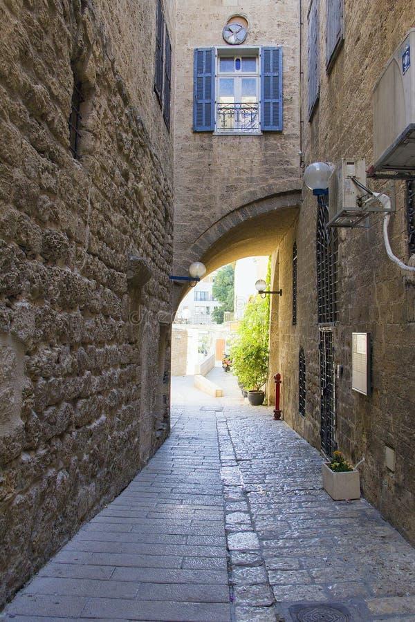 Rues en pierre de la ville antique de Jaffa, Israël image libre de droits