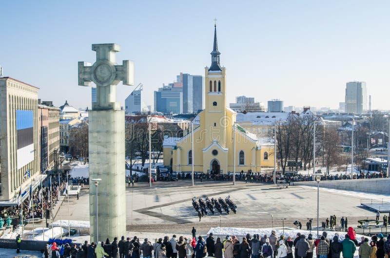 Rues et capital estonien de vieille architecture de ville photographie stock libre de droits