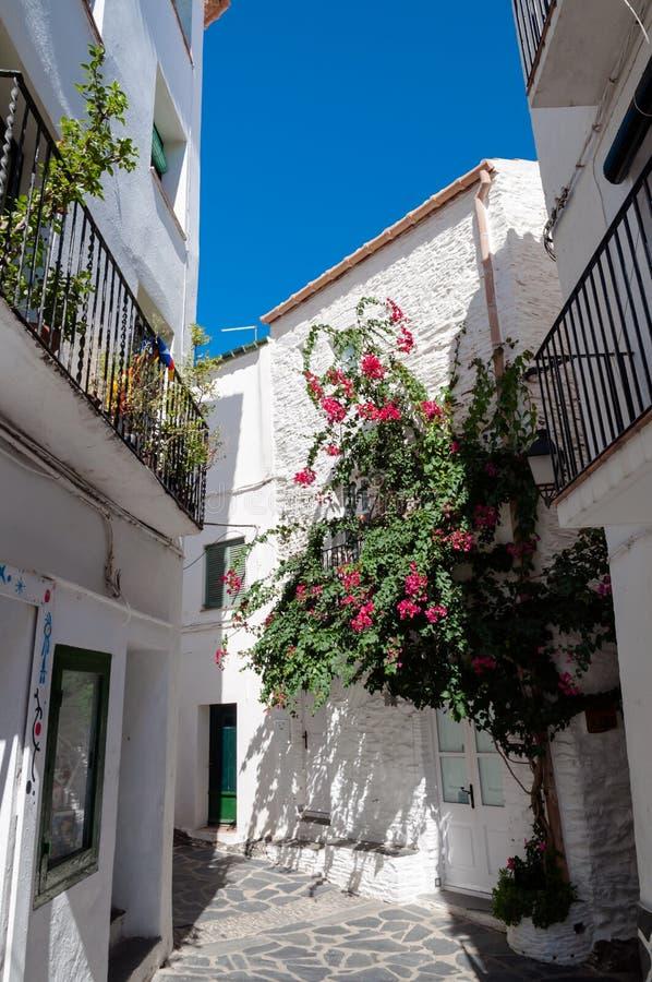 Rues et maisons à l'intérieur de ville de Cadaques photographie stock libre de droits