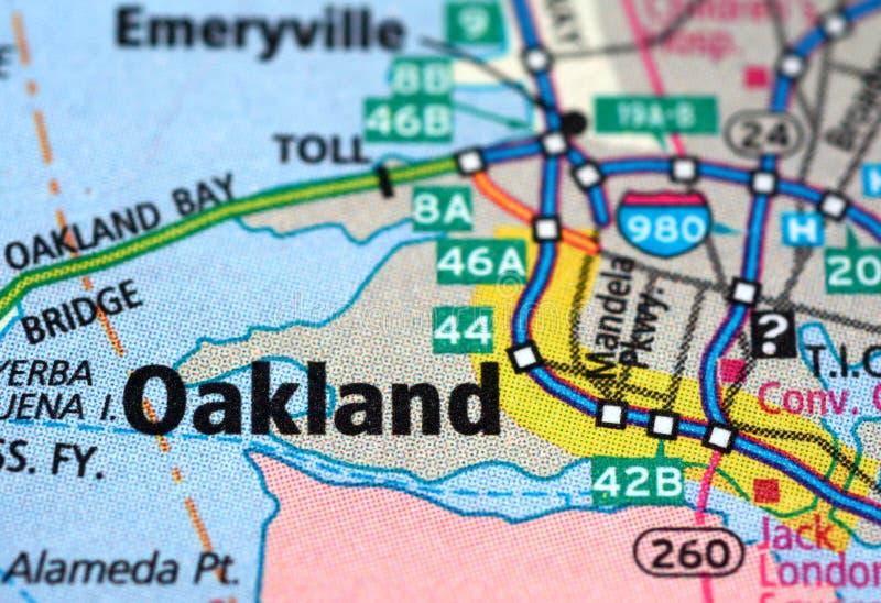 Rues numérotées sur la carte autour de la ville d'Oakland, Etats-Unis, le 12 mars 2019 photo libre de droits