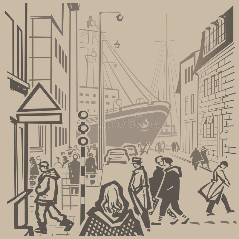 Rues passantes illustration libre de droits