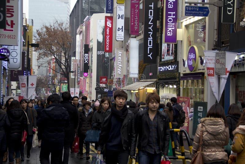 Rues passantes de Myeongdong Séoul Corée photo libre de droits