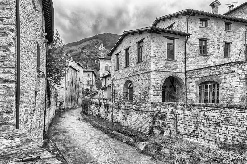 Rues scéniques de la ville médiévale de Gubbio, Ombrie, Italie image stock