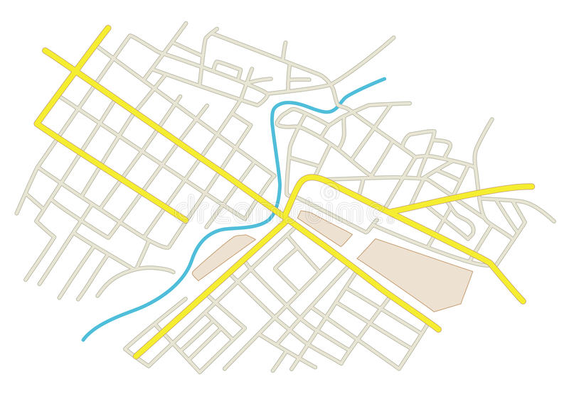 Rues sur le plan de ville illustration de vecteur