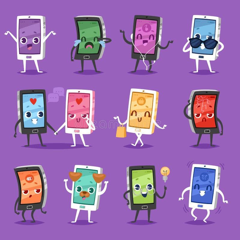 Rufen Sie emoji Vektorgerätcharaktersmartphone oder -tablette mit emotionalem Satz der Gesichtsausdruck-Illustration von digitale stock abbildung