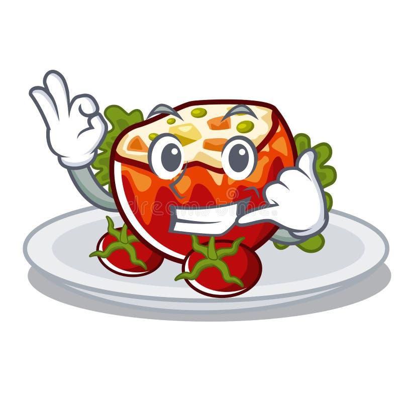 Rufen Sie mich anfüllte Tomaten in der Karikaturform an vektor abbildung
