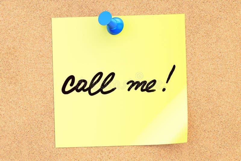 Rufen Sie mich an! Simsen Sie auf einer klebrigen Anmerkung, die zu einem corkboard festgesteckt wird renderi 3D vektor abbildung
