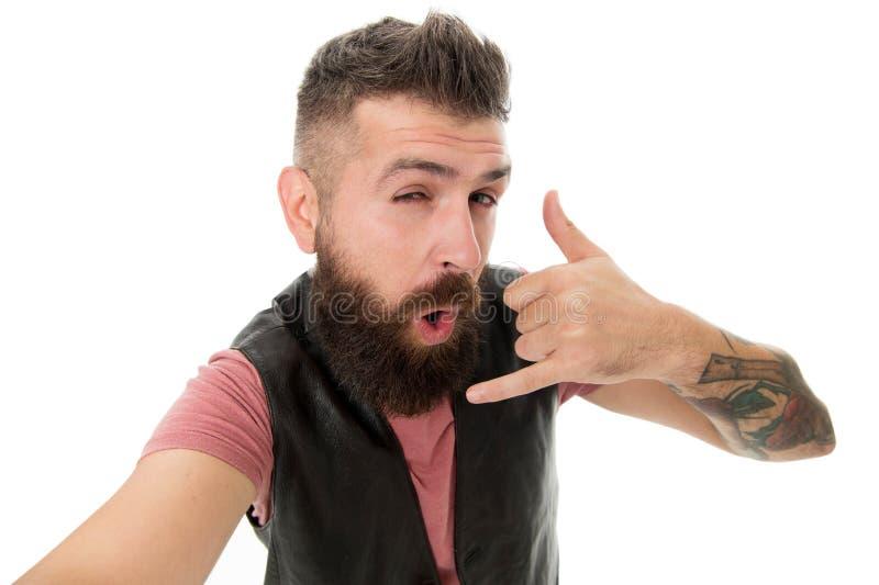 Rufen Sie mich sp?ter an Hippie mit langem Bartsymbolgespr?ch Beweglicher Anruf Kugel mit Handys Bärtiger Hippie des Kerls lizenzfreie stockfotografie