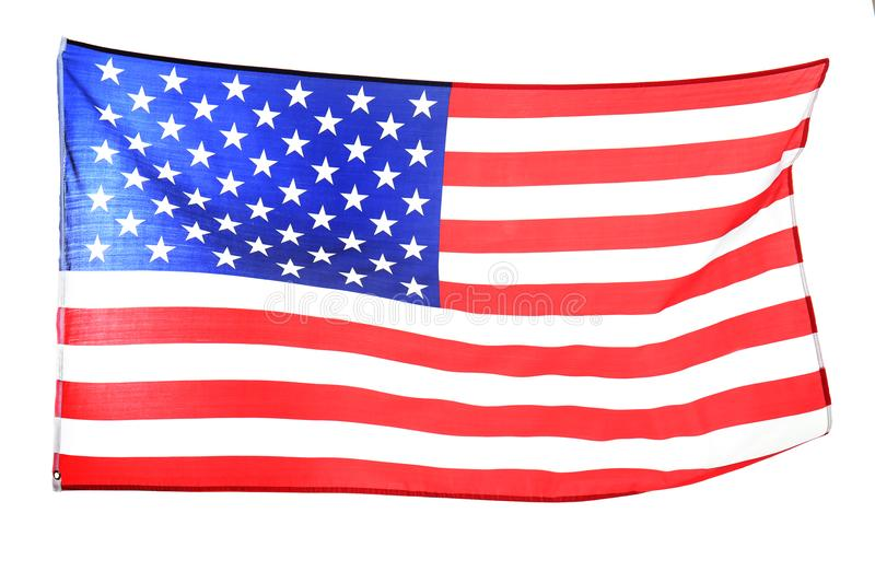 Ruffled American flag isolated royalty free stock images