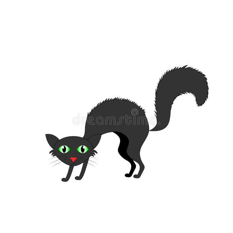 ruffled black cat isolated on white background stock illustration