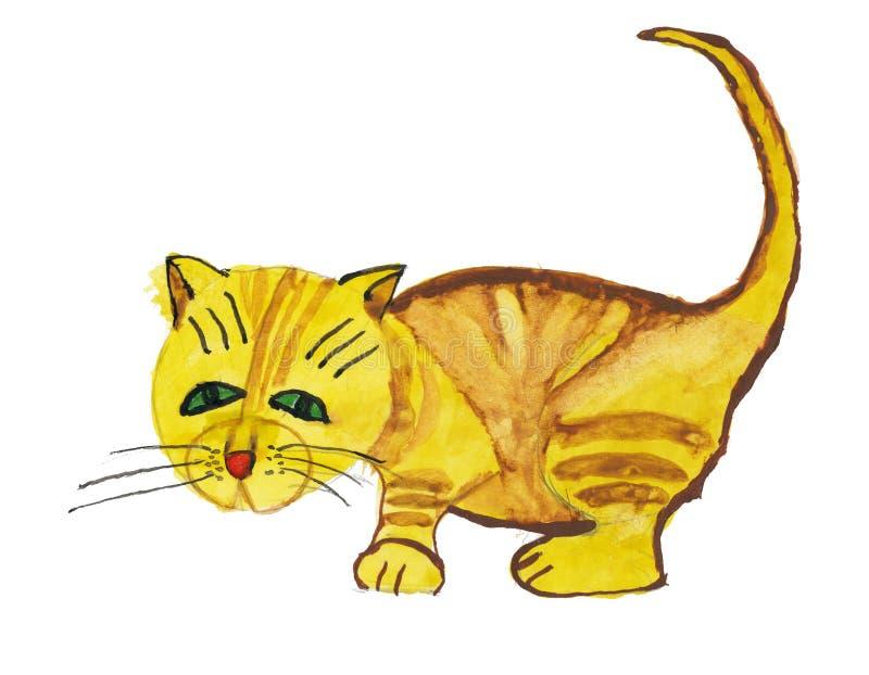 Rufous kat. De tekening van het kind stock illustratie