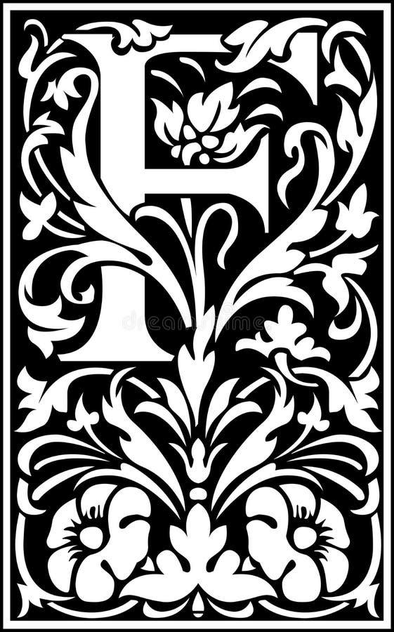 Rug en Wit van de bloemen het de decoratieve brief F stock illustratie