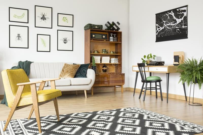 Rug in vintage flat interior royalty free stock photo