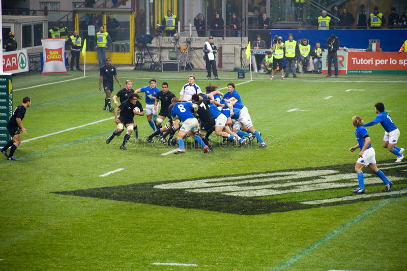 Rugby. Cariparma Test Match Italy vs New Zealand (All Blacks) with score 6 - 20 royalty free stock image