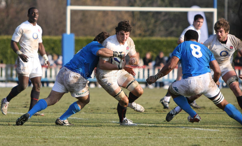 Rugby 2010 de six nations ; l'Italie A contre des saxons de l'Angleterre photos libres de droits