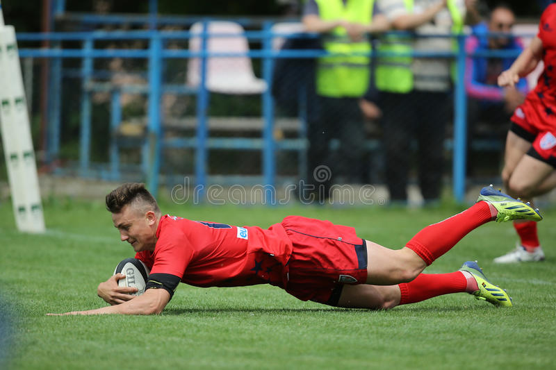 Rugby action - touchdown stock photos
