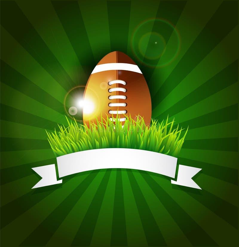 Rugby amerikansk boll för fotboll i gräs med banret vektor illustrationer