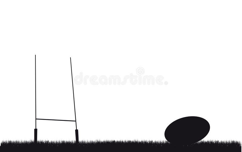Rugby background. A rugby ball and post background