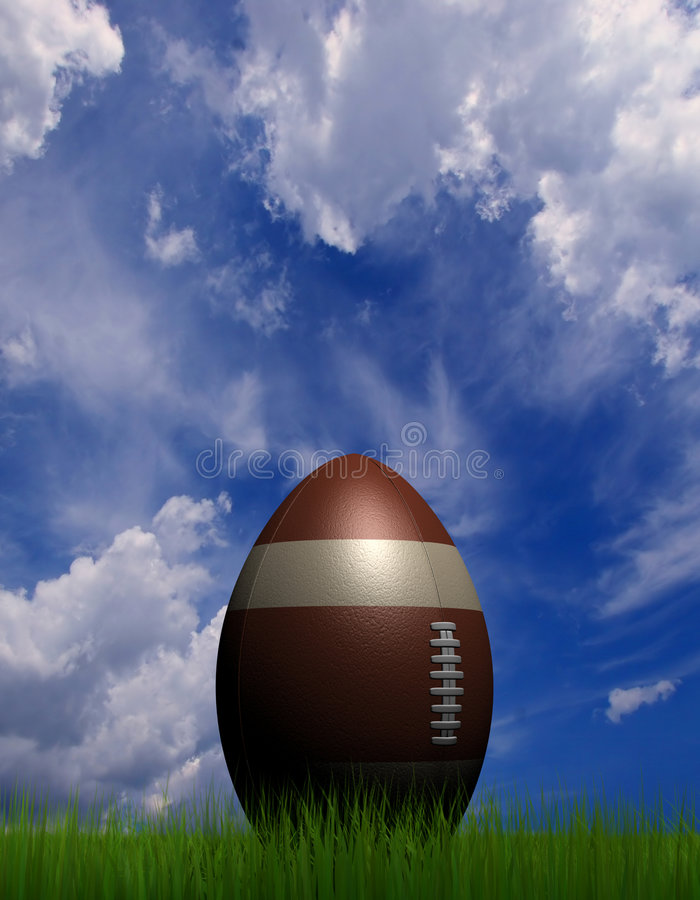 Rugby ball. A rugby ball on grass field - rendered in 3d vector illustration