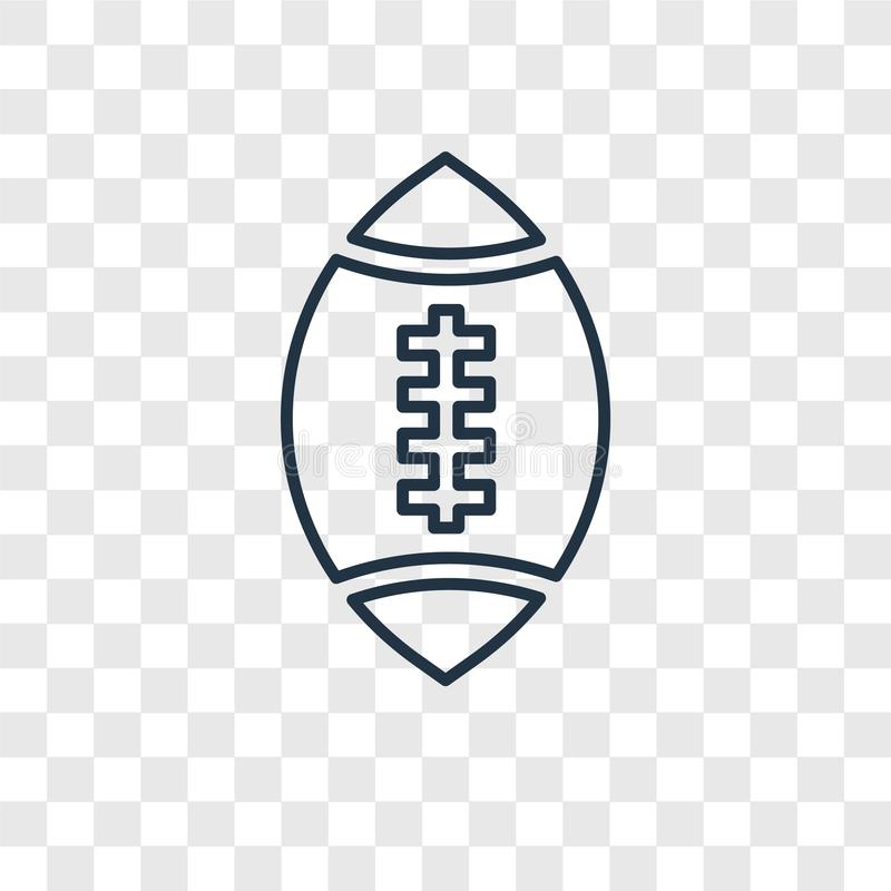 Rugby ball concept vector linear icon isolated on transparent ba stock illustration