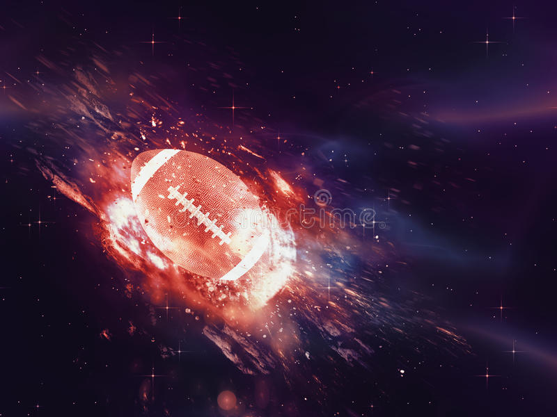 Rugby Ball Flies. Purple space background with rugby ball, explosion effect stock illustration