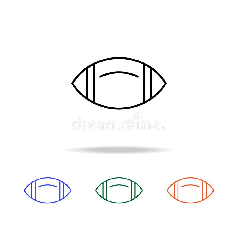 Rugby ball icon. Elements of simple web icon in multi color. Premium quality graphic design icon. Simple icon for websites, web. Design, mobile app, info stock illustration
