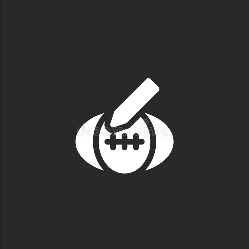 Rugby ball icon. Filled rugby ball icon for website design and mobile, app development. rugby ball icon from filled fame. Collection isolated on black stock illustration
