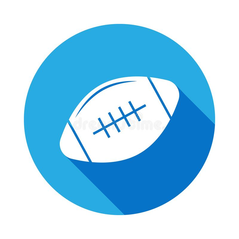 Rugby ball icon with long shadow. Element of sport icon for mobile concept and web apps. Isolated rugby ball icon can be used for. Web and mobile. on white vector illustration