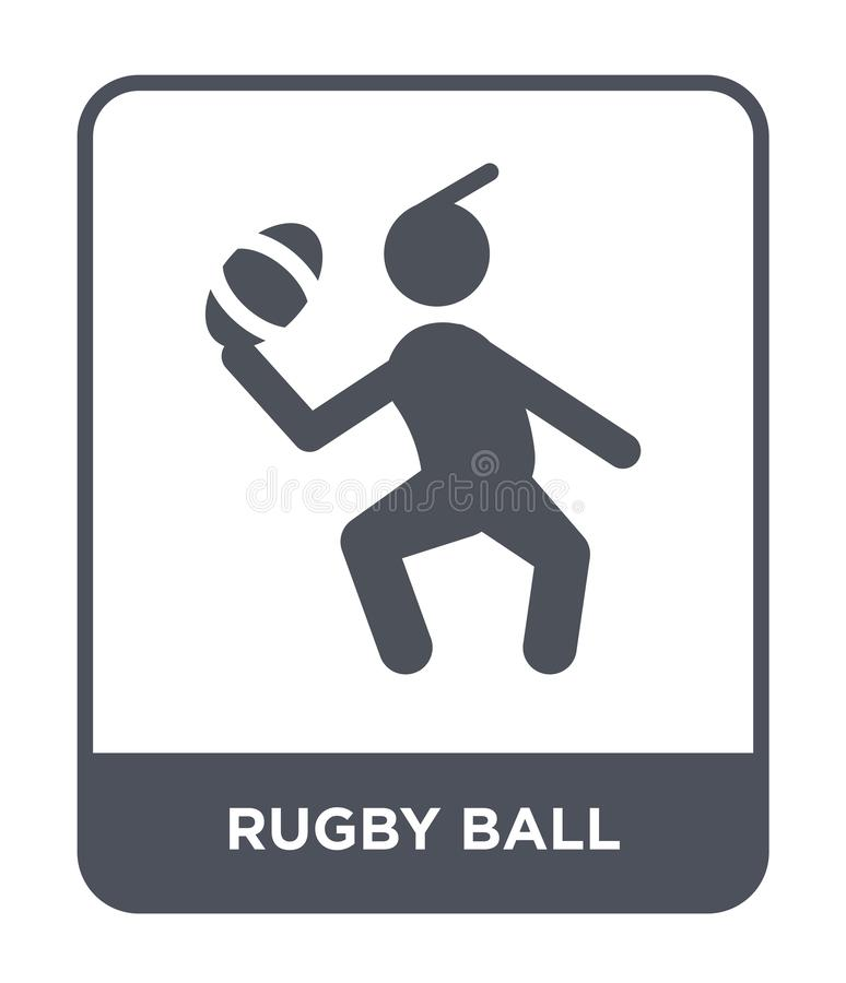 Rugby ball icon in trendy design style. rugby ball icon isolated on white background. rugby ball vector icon simple and modern. Flat symbol for web site, mobile royalty free illustration