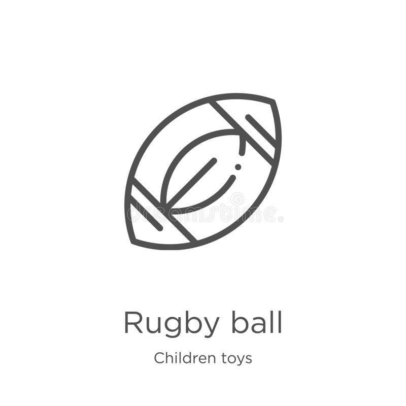 Rugby ball icon vector from children toys collection. Thin line rugby ball outline icon vector illustration. Outline, thin line. Rugby ball icon. Element of royalty free illustration