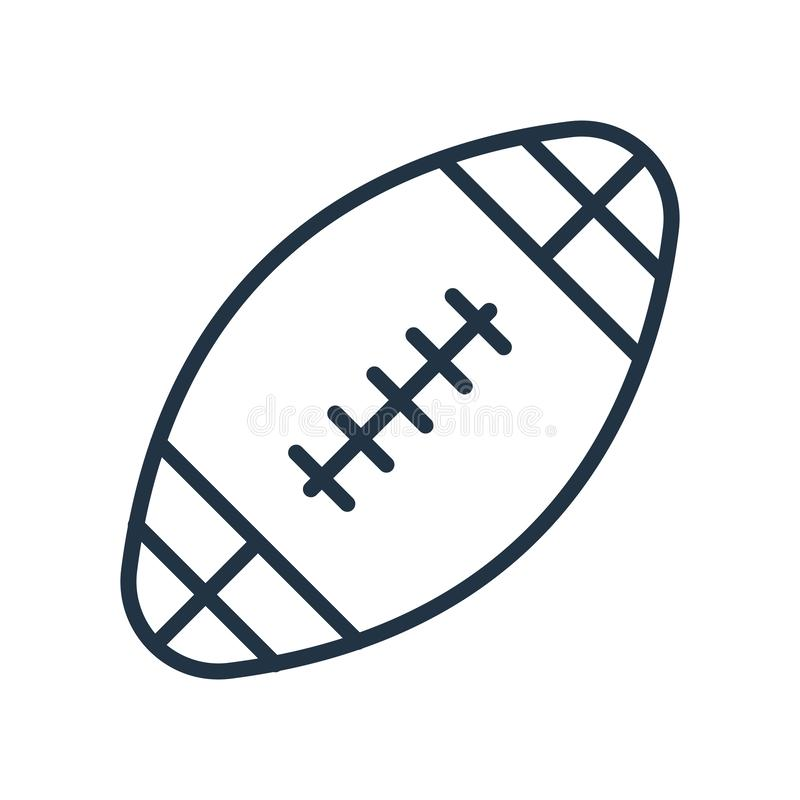 Rugby ball icon vector isolated on white background, Rugby ball sign. Rugby ball icon vector isolated on white background, Rugby ball transparent sign royalty free illustration