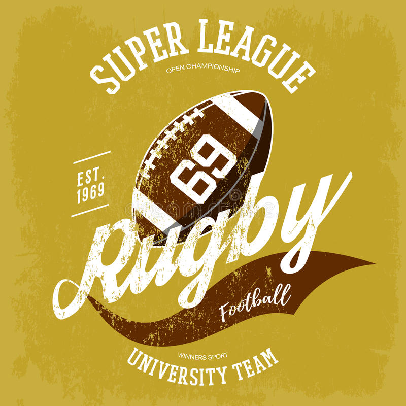 Rugby ball logo for t-shirt branding design. Super rugby league banner or sportswear gear, shirt clothing or uniform cloth.For athletic sport equipment, team stock illustration