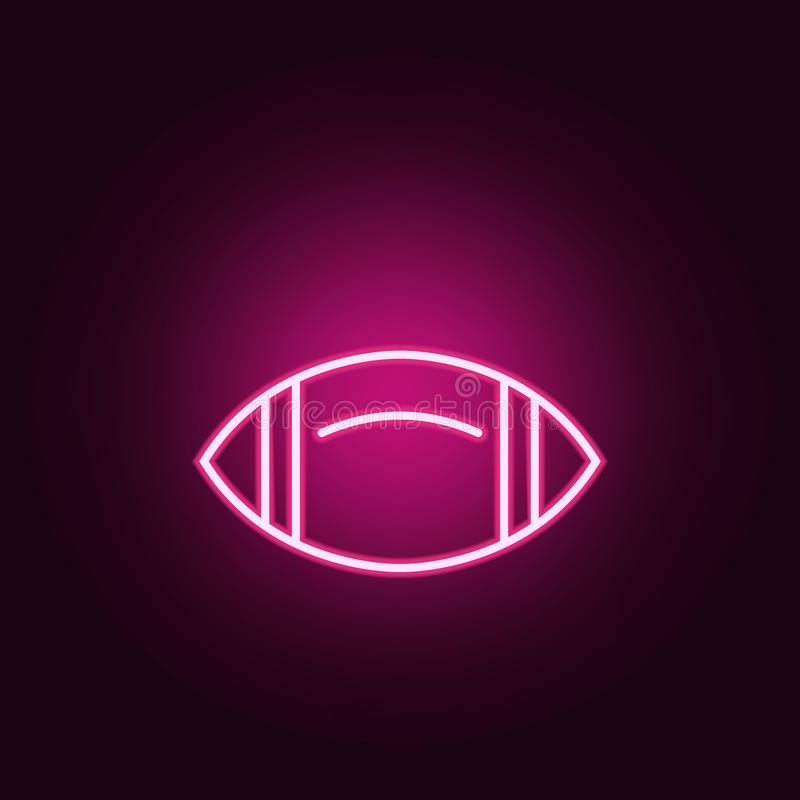 Rugby ball neon icon. Elements of web set. Simple icon for websites, web design, mobile app, info graphics. On dark gradient background royalty free illustration