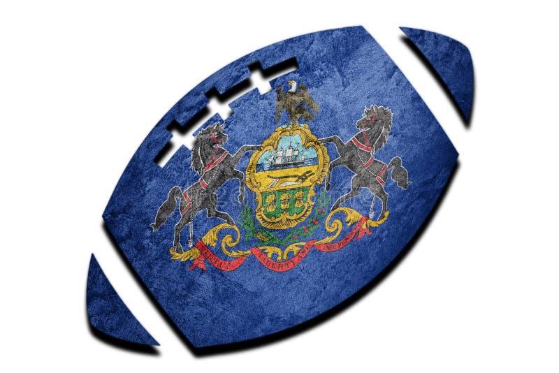Rugby ball Pennsylvania state flag. Pennsylvania flag background. Rugby ball Sport stock photos