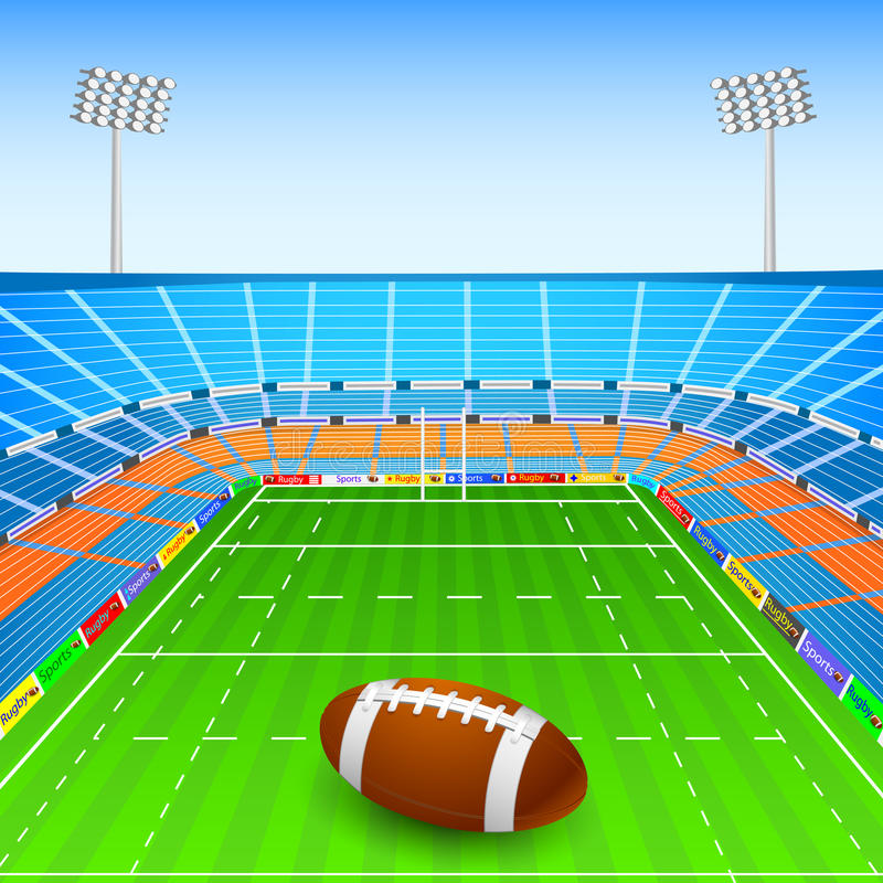 Rugby Ball on Stadium. Vector illustration of rugby ball on stadium stock illustration