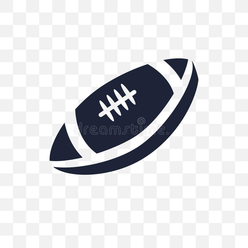Rugby ball transparent icon. Rugby ball symbol design from Unite. D states of america collection. Simple element vector illustration on transparent background royalty free illustration