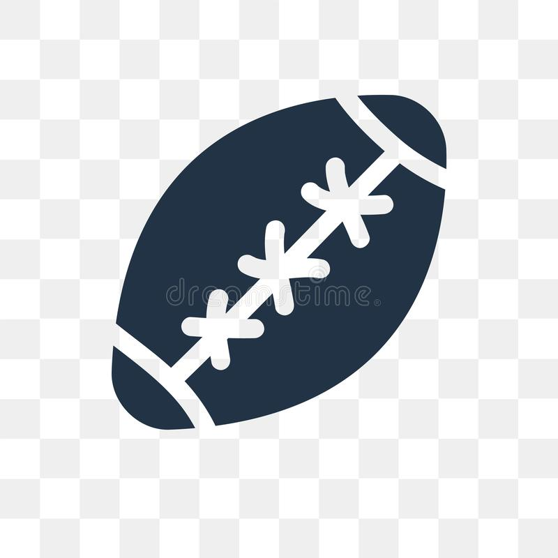 Rugby ball vector icon isolated on transparent background, Rugby. Ball transparency concept can be used web and mobile, Rugby ball icon stock illustration